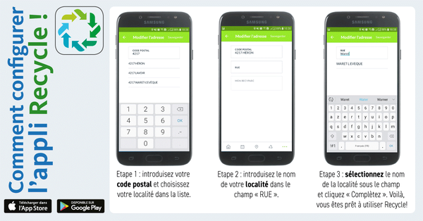 Configurer l'application Recycle! en trois étapes